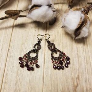 Beautiful dark red beading/stone dangle earrings